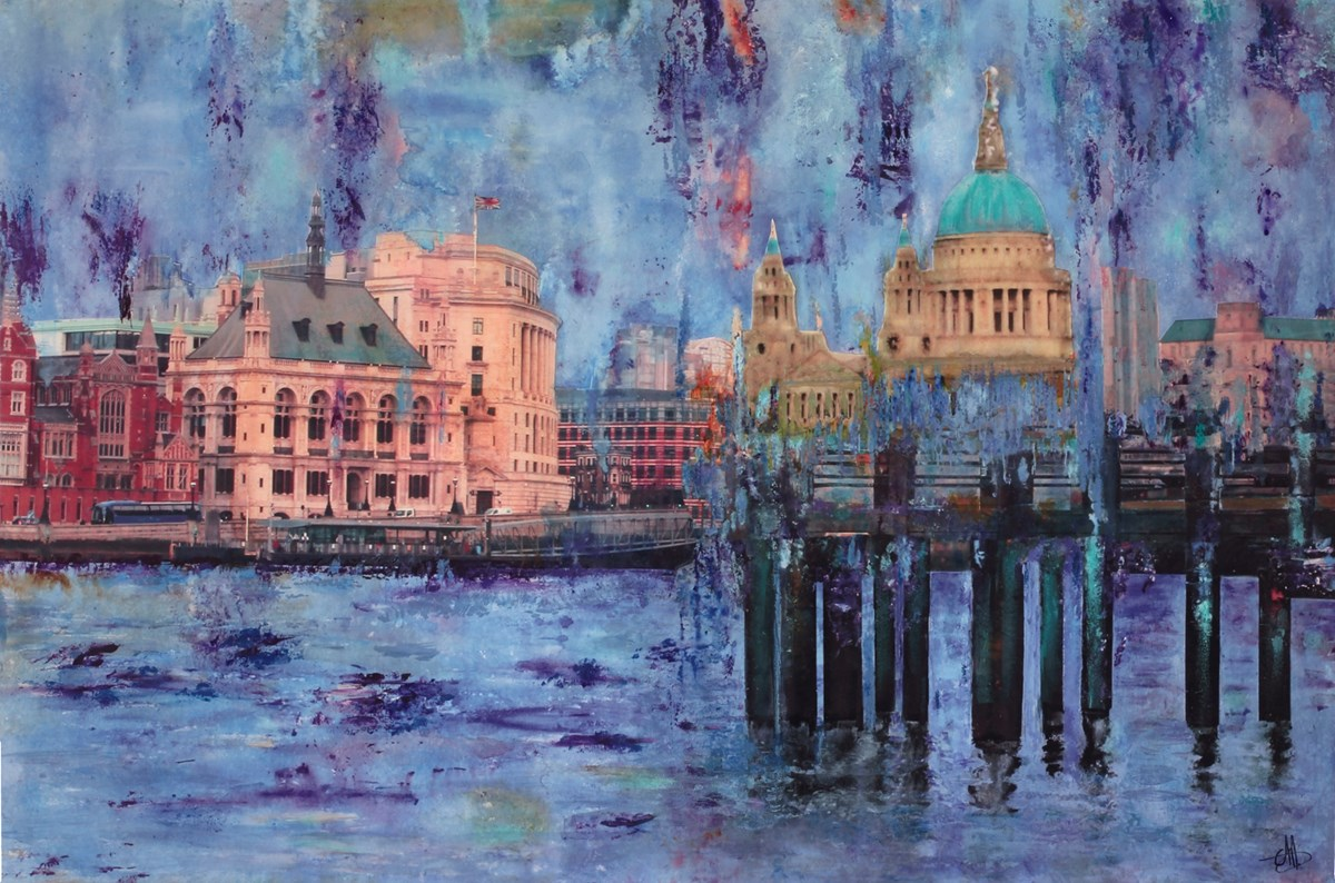 St Pauls & Pier by annie blanchet rouze -  sized 36x24 inches. Available from Whitewall Galleries
